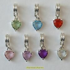 1 or 4 x Silver Plated Rhinestone Love Heart Dangle Bead Charms on Bail or Clip