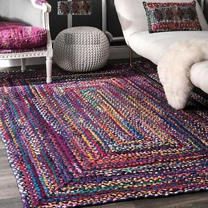 Rug Natural 100% Cotton Braided Style Rug Reversible Modern Rustic Look Carpet