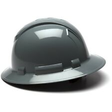 Pyramex Full Brim Hard Hat with 4 Point Ratchet Suspension, Gray