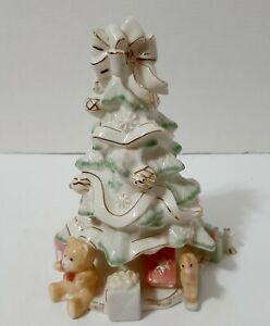 "Lenox Holiday Traditions 9"" Porcelain Christmas Tree Figurine 24K Gold Trim"