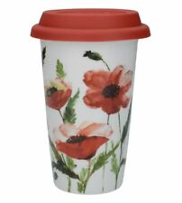 WATERCOLOUR POPPY Ceramic TRAVEL MUG Double Walled + Lid Red FLOWERS