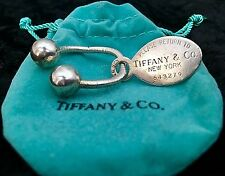 Vintage TIFFANY & CO. Sterling Silver Key Ring With Oval Branded Charm