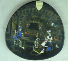 Vintage Longwy Creation Art Grand Feu LORRAIN Folklore France Plate Black