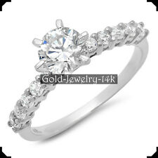 14K White GOLD Ring SHELBY 1.20Ct Round Diamond lab-created Engagement for Woman