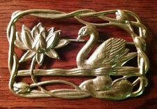 """Antique Art Nouveau Pressed Brass Pin Lily Pad Lotus & Swan on Lake Brooch 2.25"""""""