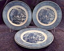 """Currier Ives Royal China Dinner Plate Old Grist Mill 10"""" FOUR EXCELLENT!"""