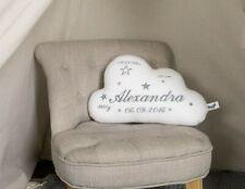 Wolkenkissen | Kissen mit Namen bestickt | Geburt | Taufe weiß/grau Sterne Wolke