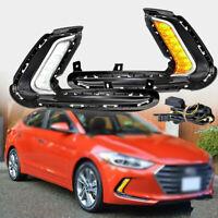 For Hyundai Elantra 17-18 Pair Dual Function LED DRL Fog Lights Turn Signals Set