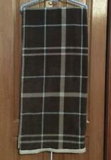Scene Weaver DICK IDOL 2-Sided Fleece Throw Blanket Soft Beige & Blue Plaid #13