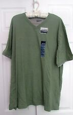 Basic Edition Layer Look Men's T-Shirt Green Olive and Grey L New Short sleeve