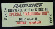 Railway Ticket Métro RER Paris Inauguration 1981 RATP