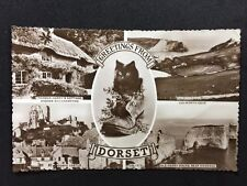 Vintage Postcard - Dorset #01 - RP Dorset Multi View With Cat - 1957
