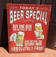 Today's Beer Special Absolutely Free Sign Tin Vintage Garage Bar Decor Old