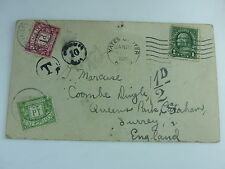 USA To England Qsl Postage Due Stamp 1924 QSL Cover Postal History 9CCS G2NM