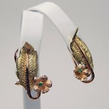 Pair of Emerald Flower Leaf Omega Back Earrings 18 kt Yellow & Rose Gold #8364