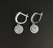925 Sterling Silver White Diamond Halo Drop Dangle Leverback Earrings