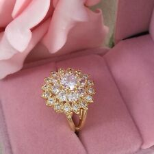 Vintage Jewellery Gold Ring with White Sapphires Antique Art Deco Jewelry
