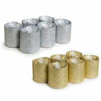 WYZworks 6PK Glitter Tea Light Flameless LED Candle Wax Gold Sliver w BATTERY