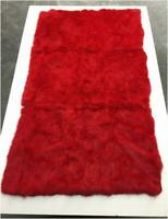 Real Rabbit Fur Blanket Red Patchwork Skin Fur Carpet Rug Throw Leather 48x59''