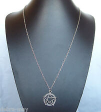"Pentagram Pentacle Pendant 32"" Extra Long Chain Necklace - Wiccan Pagan Gothic"