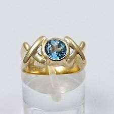 14K Gold .75 ctw Blue Zircon December Birthstone XO Hugs & Kisses Ring Sz 4