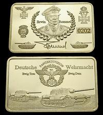 Erwin Rommel Deutsches Reich Kupferbarren mit 999 vergoldet Medaillen Barren