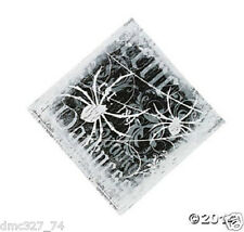 16 HALLOWEEN Party Paper SPOOKY SOIREE Spider Black White BEVERAGE NAPKINS
