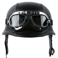 New DOT Motorcycle German Black Leather Half Face Helmet With Pilot Goggles M~XL
