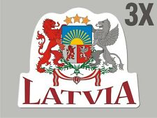 3 Latvia shaped stickers flag crest decal car bike Sticker CN046