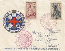 LETTRE ENVELOPPE PREMIER JOUR CROIX ROUGE FRANCAISE 1955 / RABAT MAROC