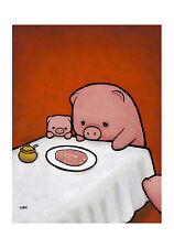 WILDLIFE ART PRINT Revenge Is A Dish Pig Luke Chueh