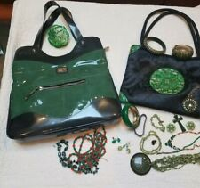 Green Beijo shoulder bag & an asian bag filled with st patricks day green jewels