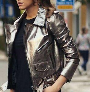 ZARA Aged Silver Metallic LEATHER Biker Jacket M BNWT  REF: 2969 264