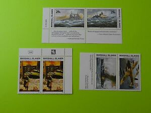 Stamps * MH Marshall Islands * MNH * Inscription Blocks * WWII * Lot 8