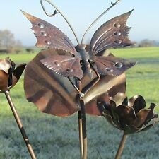 Handcrafted ironwork rustic butterfly & flower garden stake ornament sculpture