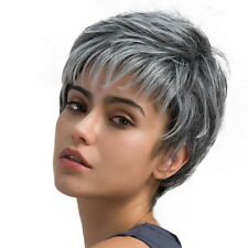 Ladies Gray Short Straight Wig Wig Bob Front Lace Boycut Synthetic Wigs Ombre GE