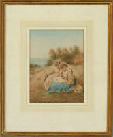 Early 20th Century Watercolour - Two Young Girls Reading