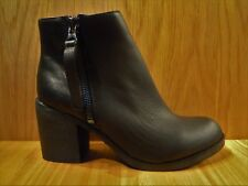 Ladies Leather Ankle Boots Size 6 Wide Fit Block High Heeled Zip NEW LOOK Boot