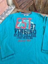 VINGINO T-shirt blau/grün Rundhals Aufdruck 16 Jahre super Zustand