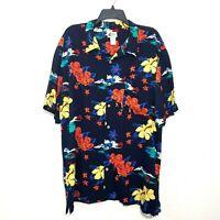 Cherokee Waikiki Wear Hawaiian Men's Shirt Size XL Navy Blue Floral Print