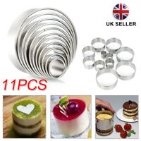 11Pcs Round Biscuit Cookie Cutters Cake Mould Sugarpaste Decorating Pastry UK
