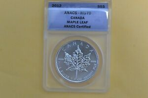 2012 Canada $5 Maple Leaf  One Ounce .999 Silver ANACS MS 70