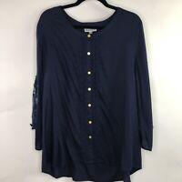 JM Collection XL Navy Blue Popover Tunic Blouse Crochet Trim 3/4 Sleeve Gold