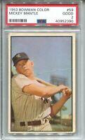 1953 Bowman Color Baseball #59 Mickey Mantle Card Graded PSA 2 New York Yankees