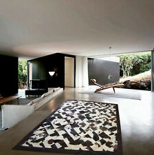 Cowhide Rug Patchwork Cowskin Cow Hide Leather Carpet. Tricolor