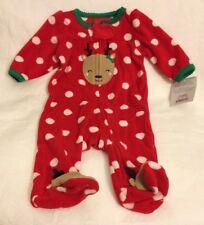 Just One You by Carter's Girls Reindeer Fleece Sleeper Christmas Polka Dots NB