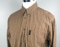 Columbia Men's Long Sleeve Brown and Red Plaid Button Down Size L