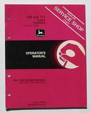John Deere 108 111 Lawn Tractor Operator's Manual Serial No. 120,001-