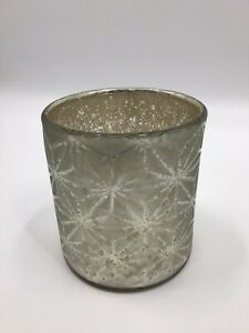 Bath & Body Works Silver/Gold Large Snowflake Glass Luminary 2014