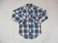 Wrangler Pearl Snap Long Sleeve Shirt Adult Large Gray Red Plaid Cowboy Mens A13